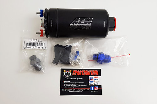 In-line Fuel pump Aem 380Lph 8bar / 120psi max fittings included in-out