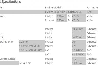 Keldford Camshaft 199-J Subaru Ej20 Sportigntion